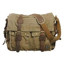 ABDB Men's Vintage Canvas Leather School Military Shoulder Bag Messenger Sling