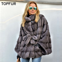 TOPFUR 2019 New Fashion Winter Female Coat Real Fur For Women Natural Mink Outerwear & Coats With Belt Basic Jackets