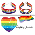 "12PCS/Lot Rainbow Gay Pride Multicolor""PRIDE""Leather Bracelet Charming Bracelets For Women Lesbian Lover Letters Pulseras Hombre"