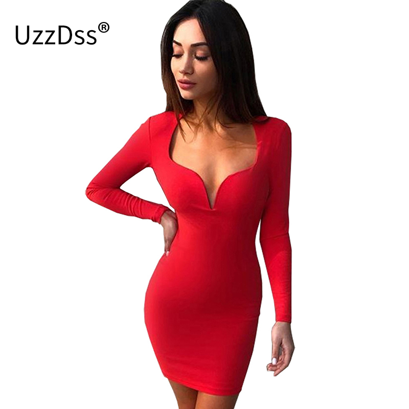 039385cc9d US $13.52 45% OFF|UZZDSS 2018 Sexy Low Cut Mini Bodycon Club Party Dress  Black White Red Blue Women Long Sleeve Sheath Autumn Dresses-in Dresses  from ...