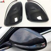 For Mercedes Benz C E S GLC Class W205 W213 W222 X253 C63 E63 Carbon Fiber Look / Black Side Wing Rearview Mirror Cover Trim