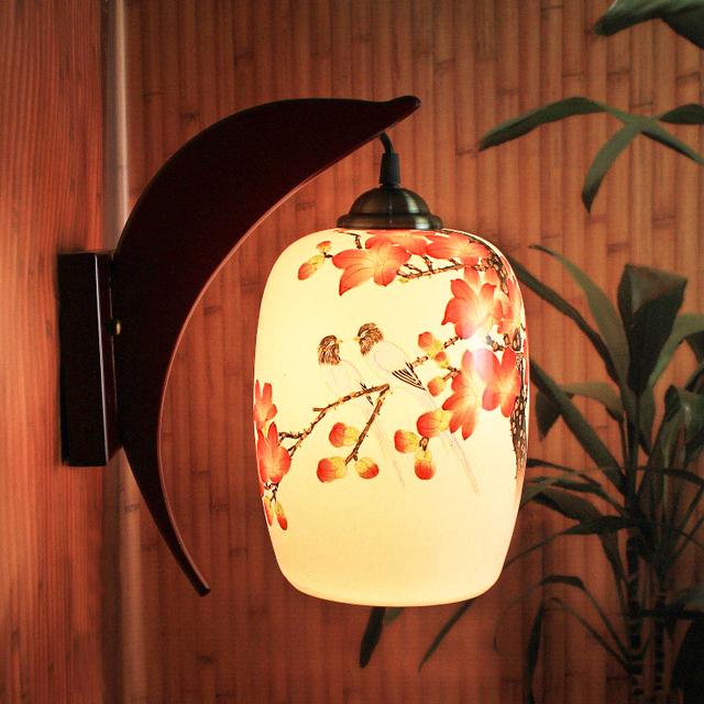 Chinese Style Jingdezhen LED E27 90-260V Ceramic Handpainted Wall Lamp Bedroom Wooden Porcelain Lampshade Wall Light