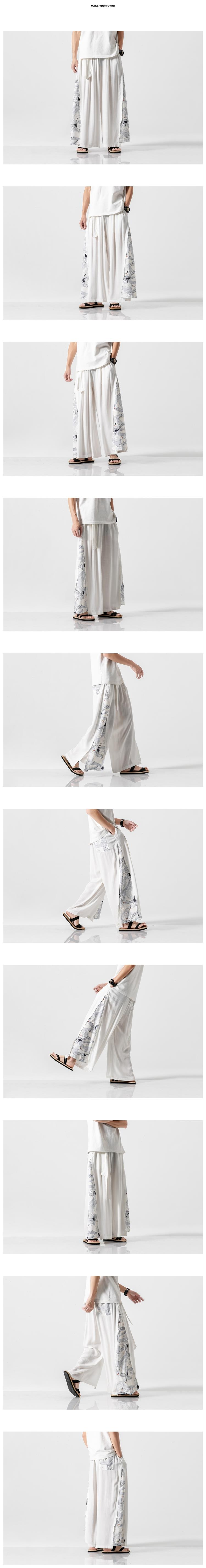 Sinicism Store 2020 Summer Chinese Style Cotton Pants Mens Patchwork Vintage Loose Pants Male Wide Leg Pants 26