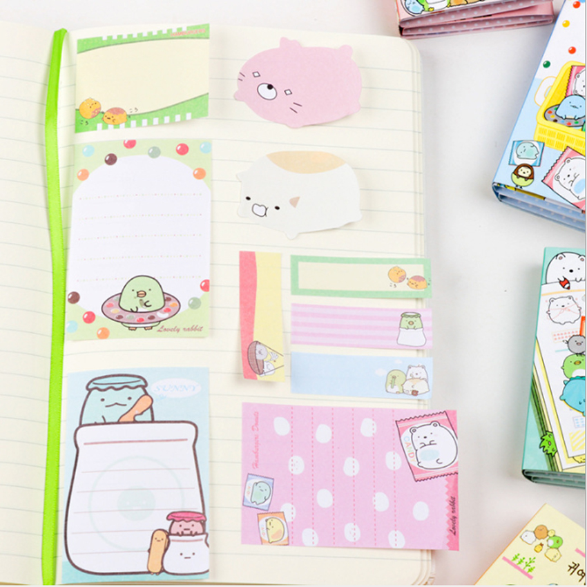 1pack lot Cartoon Kawaii Animal Fold Stationery Memo Sticky Removable Paper Memo Pad Reminder Label For School Office Supplies in Memo Pads from Office School Supplies
