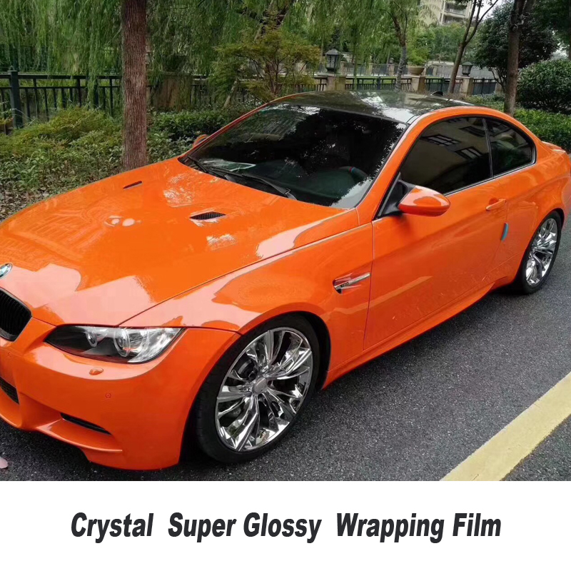 High Quality ORANGE crystal Glossy Vinyl Wrap Sticker With Air Bubble Free Vehicle Wrapping FOR High end car quality