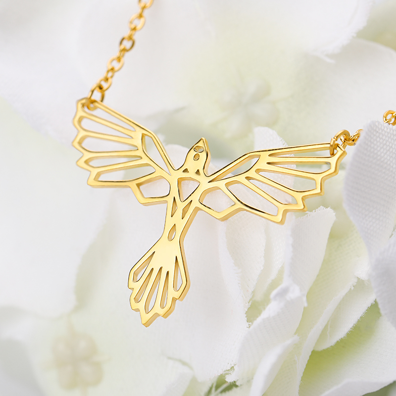 Hollow Geometric Phoenix Necklaces Pendents Collier Origami Phoenix Necklace Jewelry Accessories Bijoux Femme Bridesmaid Gifts in Pendant Necklaces from Jewelry Accessories