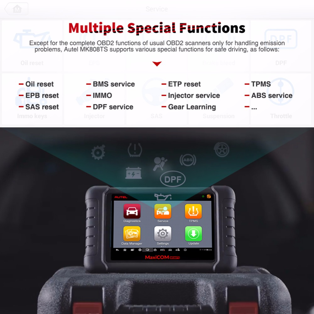 Image 5 - Autel MaxiCOM MK808TS Professional OBD2 Bluetooth Car Diagnostic Scan Tool OBD 2 Scanner Programing TPMS Sensor PK MK808 MK808BT-in Code Readers & Scan Tools from Automobiles & Motorcycles