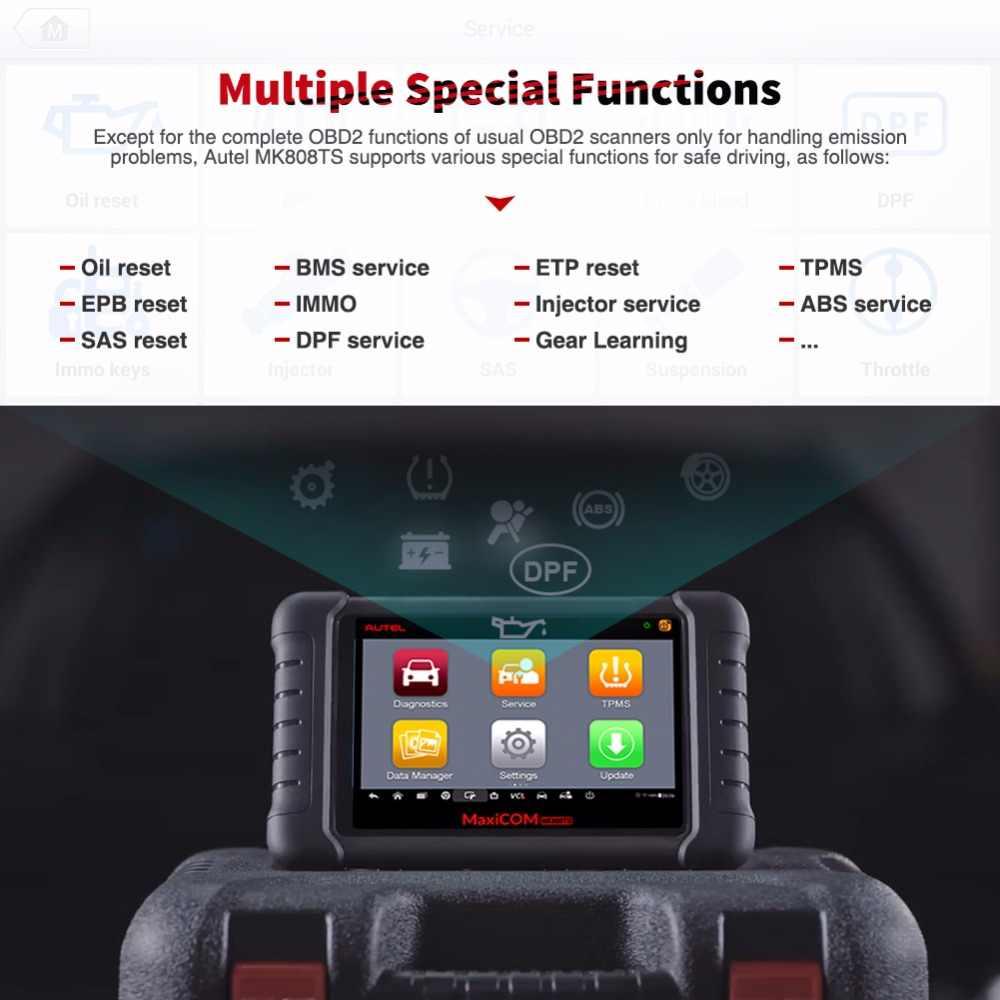 Autel Maxicom MK808TS OBD2 Bluetooth Scanner Automotivo Auto Diagnostische Scan Tool Obd 2 Programming Tpms Sensor Pk MK808 MP808TS
