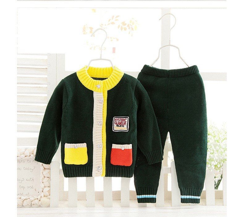 ФОТО  Sweater Jackets Cardigan Girls Kids Sweat shirt+Pants Clothes Set Long Sleeve Baby Sweater Baby Knitted Baby Clothing coat baby