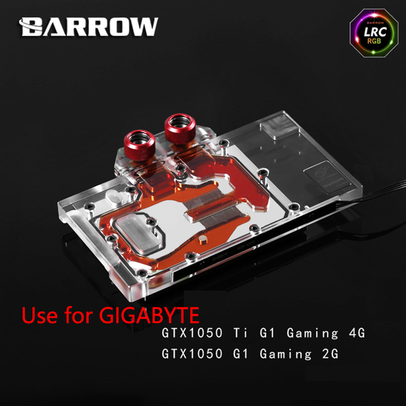 BROUETTE Pleine Couverture Carte Graphique Bloc pour GIGABYTE GTX1050TI G1 GAMING 4g/GTX1050 G1 GAMING 2g GPU Bloc Radiateur RVB
