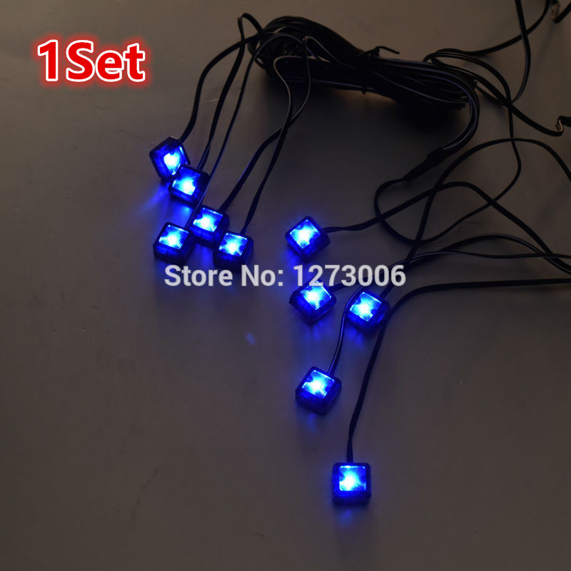 Universal 1 Set DC 12V Blue Lamps Decorative LED Light Inside Atmosphere Lamp Kit Car Fog Lamp Car-styling Work Lights Hot Sale