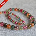 2015 New 6-14mm Multicolor Tourmaline Beads Jasper Beads Round Necklace Women Girls Gifts Stones 15inch Jewelry Making Design