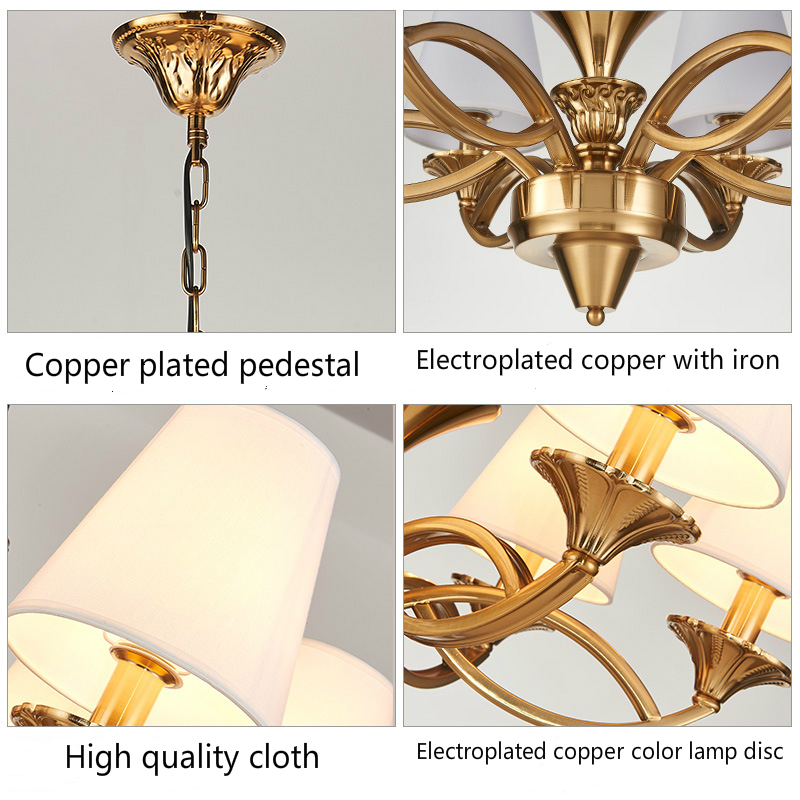 Modern Electroplated Copper Coloured Paint Metal Chandelier