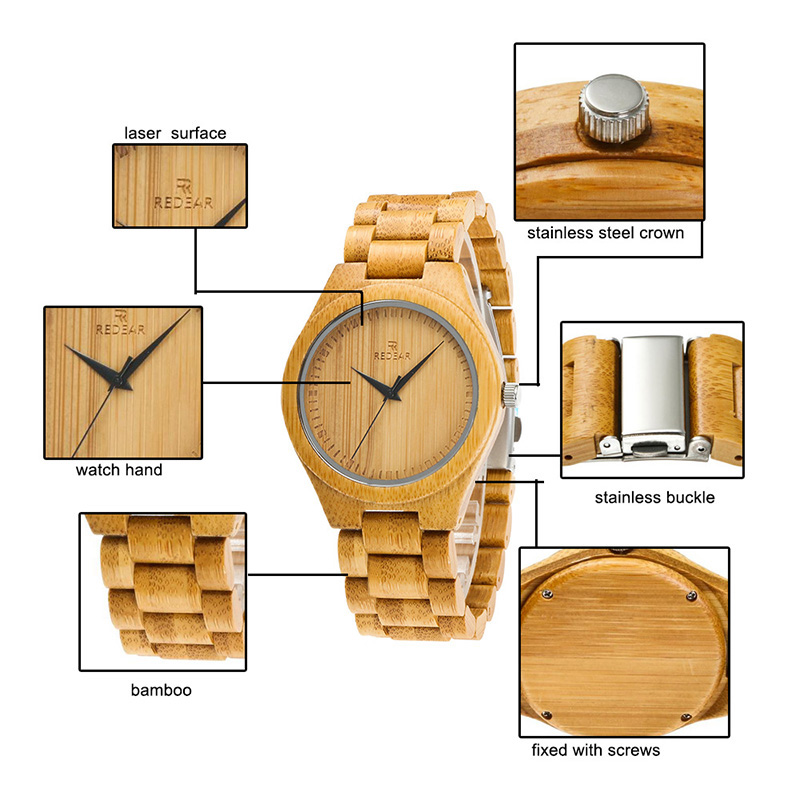 Men Bamboo Watches with Unique Bamboo Wood Band Case Men Quartz Wristwatch LXH