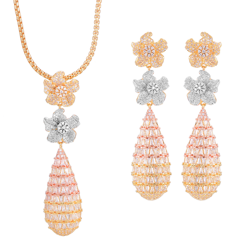 GODKI Luxury Blossom Flower Water Drop Women Wedding Cubic Zirconia Choker Necklace Earring Dubai Jewelry Set Jewellery AddictGODKI Luxury Blossom Flower Water Drop Women Wedding Cubic Zirconia Choker Necklace Earring Dubai Jewelry Set Jewellery Addict