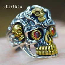 цена на GEEZENCA 925 Sterling Thai Silver Handmade Craft Skull Open Ring Hiphop Rock Punk Gothic Carving Fine Jewelry Cocktail Ring Man