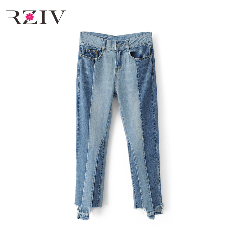 ФОТО RZIV 2017 female casual solid color irregular stitching jeans