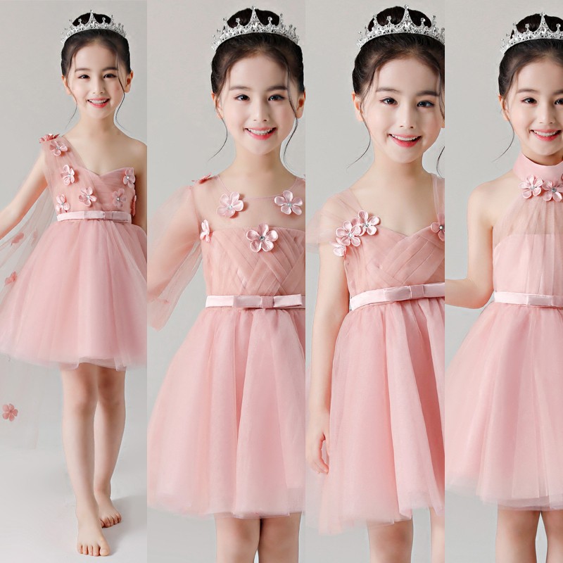 Babies Girls Sweet Beautiful Pink Birthday Wedding Holiday Party Dress New Summer Kids Piano Host Costume Ball Gown Mesh Dress elegant children girls lace princess birthday wedding party pink dresses kids babies clothing costume piano host tutu mesh dress