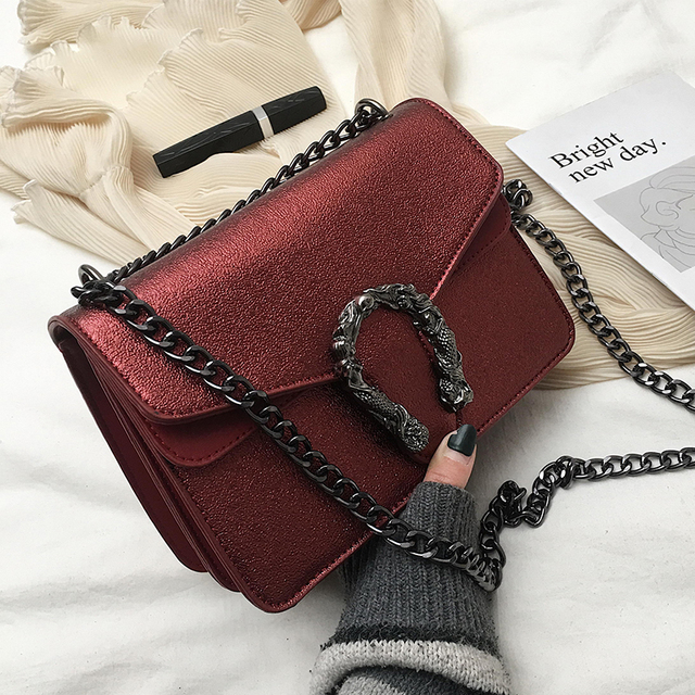 ETAILL 2019 Silver Chain PU Leather Flap Shoulder Bags Female Luxury Crossbody Bag Designer Bags Famous Brand Women Bags 2018