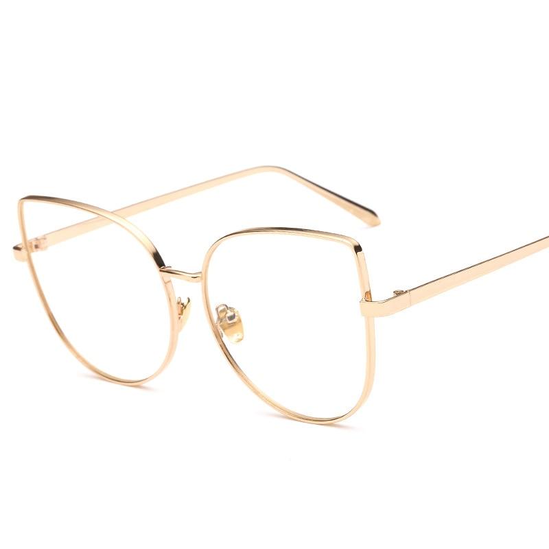 Cat Eye Oversized Vintage Clear Lens Prescription Glasses Gold Frame ...