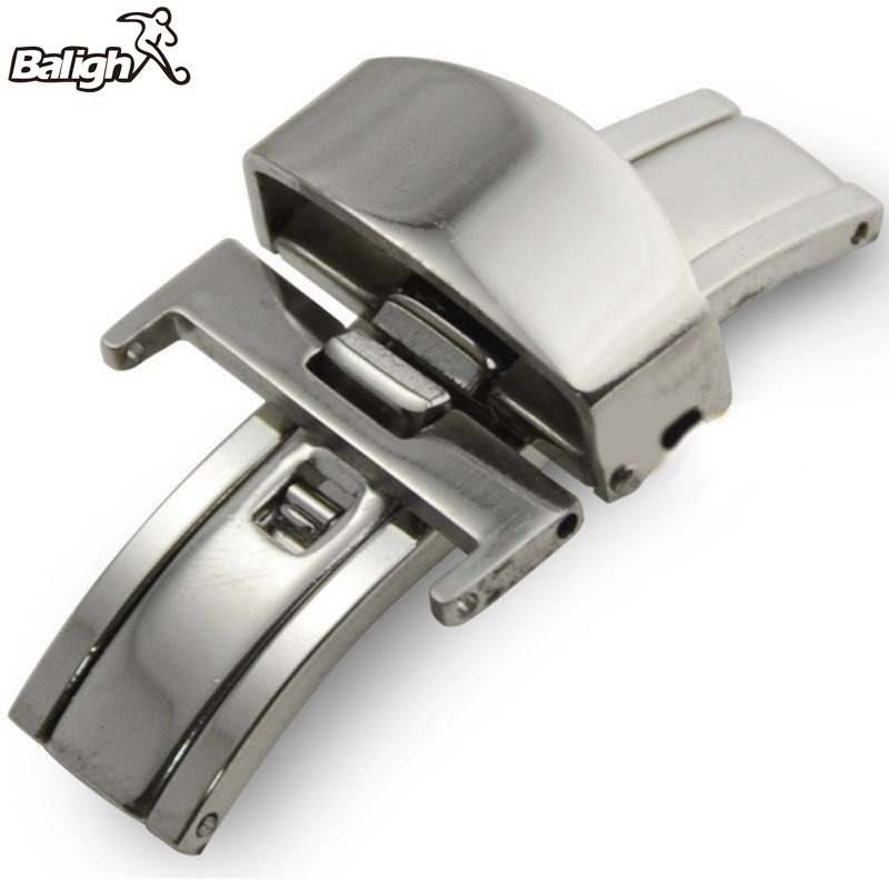 купить Stainless Steel Push Button Butterfly Deployment Clasp For Leather Watch band Strap 16/18/20mm по цене 71.4 рублей