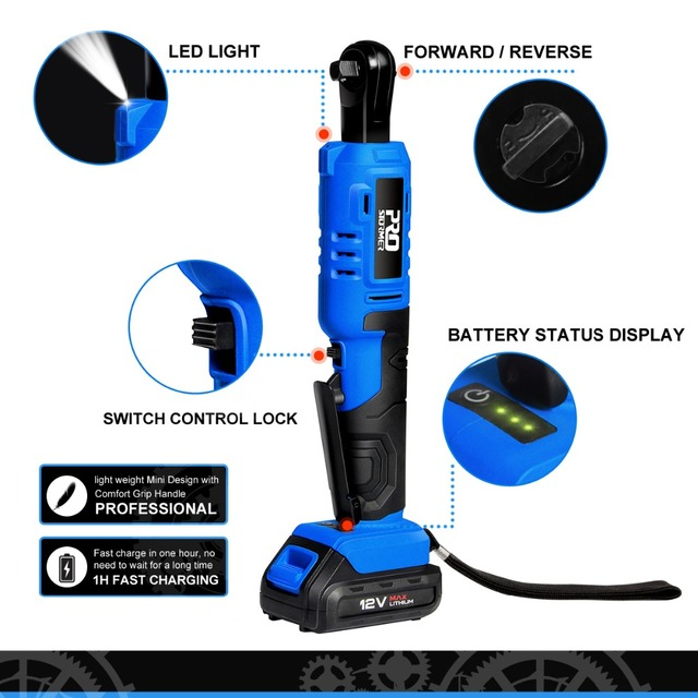 45NM Electric Ratchet Wrench 12V Cordless Wrench 3/8 inch 2000mAh Rechargeable Battery Standable Power Tools by PROSTORMER 3
