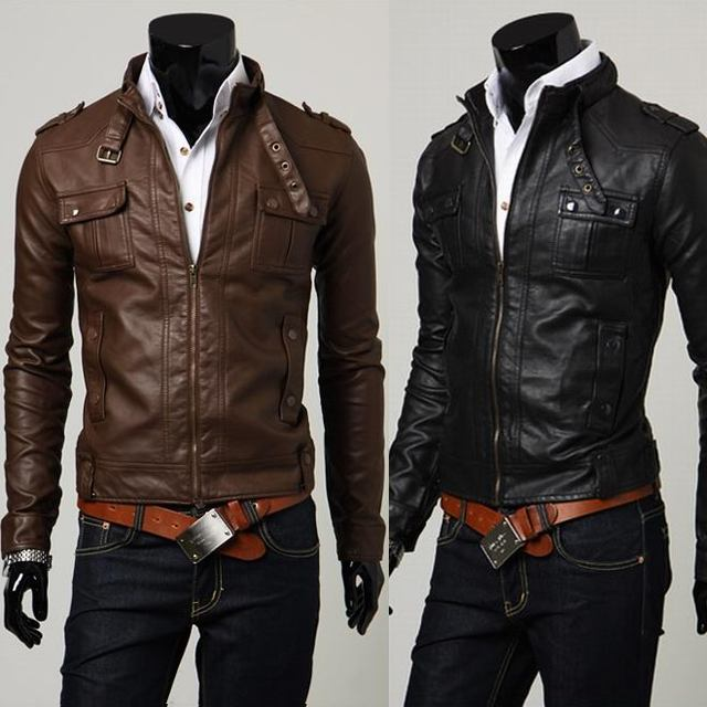 new spring autumn men's jacket PU leather Slim jacket stand collar leather jacket coat male outerwear men clothing size M-XXL