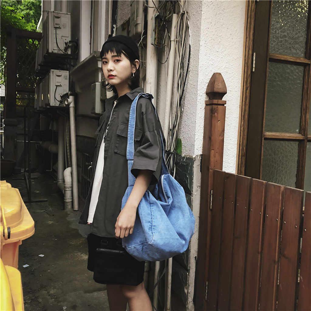 2019 Primavera Verão Nova Moda Senhora Denim Selvagem Cor Sólida bolsa de Ombro Grande Capacidade Saco Macio Saco de Compras Casuais para As Mulheres