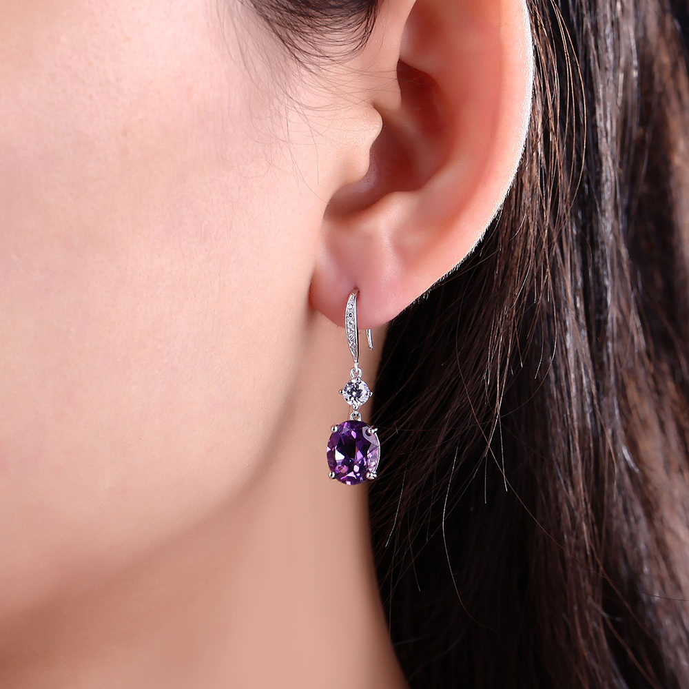 DOUBLE-R 4.95ct Asli Amethyst Alami 925 Sterling Silver Drop Earrings - Perhiasan bagus - Foto 2