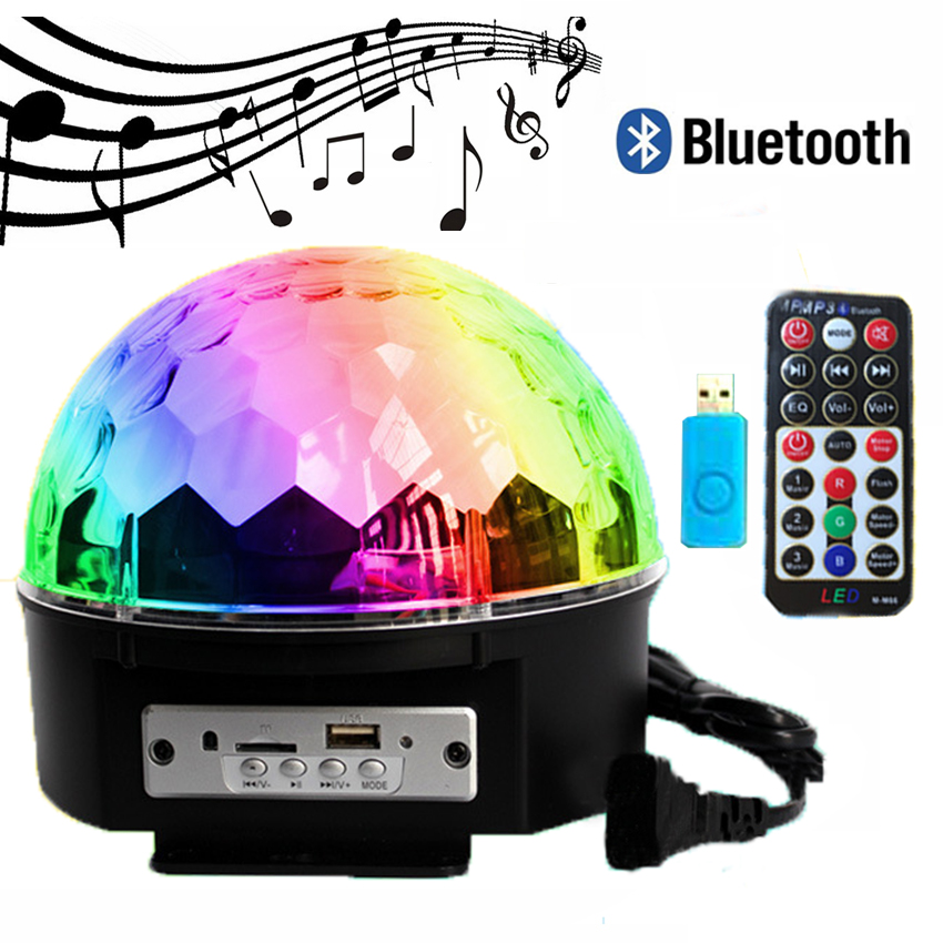 Bluetooth Voice Control Led Stage Lamp 9Colors MP3 Magic Ball Disco DJ Light With Remote Controller Christmas Laser Projector thrisdar 6w dmx512 magic ball led stage lamp voice control disco stage light digital christmas laser projector dj disco light