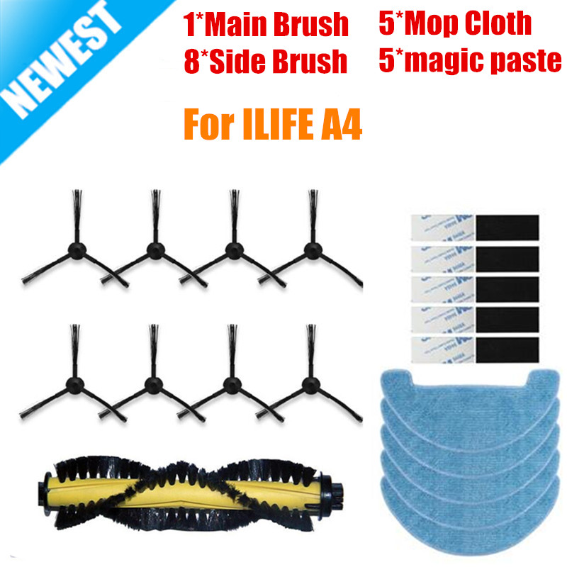 19PCS/LOT New 1*Main Brush+8*Side Brushes +5*Mop Cloth+5*magic paste for ILIFE a4 Robot Vacuum Cleaner Parts chuwi ilife a4 сигнализатор поклевки hoxwell new direction k9 r9 5 1