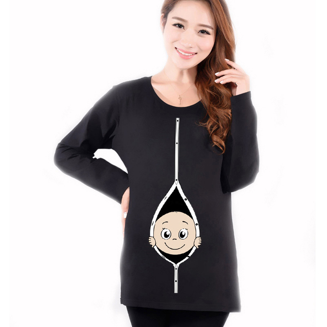 Maternity Funny Baby Peeking Out Shirts Autumn Hot Red Long Sleeve Tops Tees Clothes For Pregnant Women Pregnancy Wear Clothing
