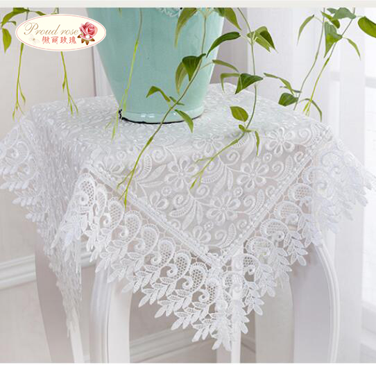 Proud Rose White Lace Table Cloth Wedding Decor Translucent Table Cover Embroidered Tablecloth Tea Table Cloth Home Table Decor