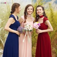 ピンク花嫁介添人ドレス2020以来プリティ08834ロングシフォン4色格安結婚式のパーティードレス花嫁介添人ドレスウェディングギフト