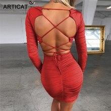 Articat Sexy Backless Bandage Party Dress Women V Neck Long