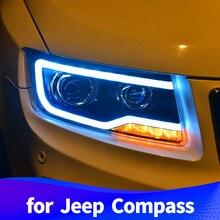 Фара в сборе для Jeep Compass 2011 2012 2013 светодиодный DRL светодиодный поворотник ксеноновые фары ближнего и дальнего света