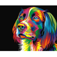 GOHIPANG Frameless Picture On Wall Acrylic Oil Painting By Numbers Animal Abstract Dog Drawing By Numbers
