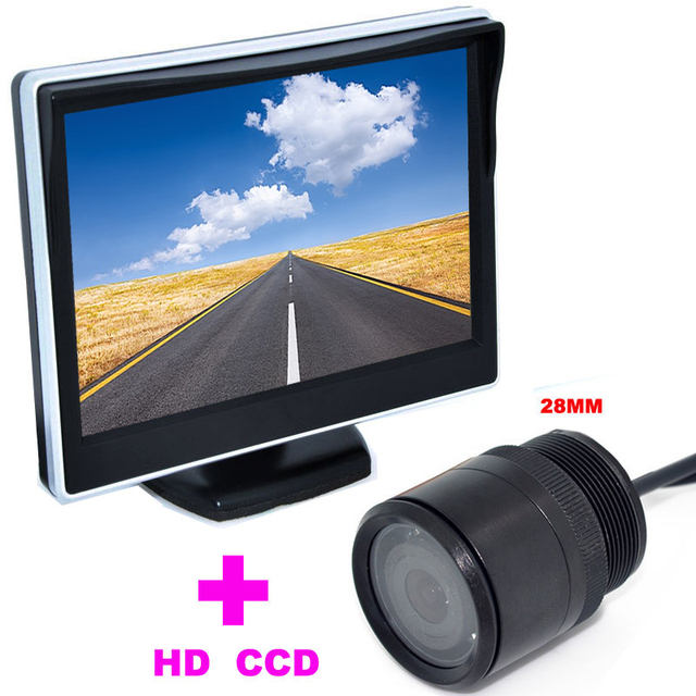 "28mm Car Rearview Camera backup camera HD 170 Angle+2 in 1 Auto Parking Assistance System 5"" TFT LCD Car mirror monitor"
