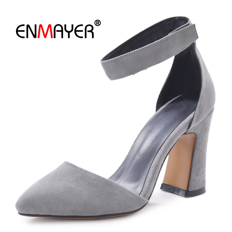 Enmayer Kid Suede Pointed Toe Woman Shoes  Basic  Casual  High Heel Pumps  Zapatos Mujer Tacon  Women Shoes Size 34-39 LY481
