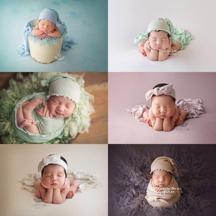 3 pièces/ensemble bébé photographie prop tricoté dentelle chapeau + enveloppé dans un tissu + bandeau nouveau-né photo prop de tir
