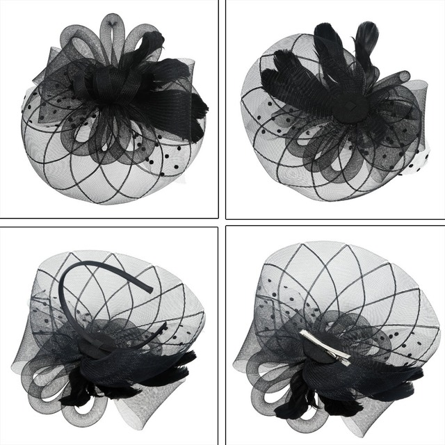 Flower Mesh Ribbons Feathers Fedoras Hat