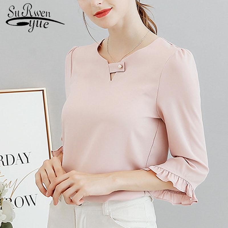 fashion woman tops and   blouses   2019 chiffon   blouse     shirt   ladies tops sweet   blouse   women blusas femininas   shirt   women 0740 30