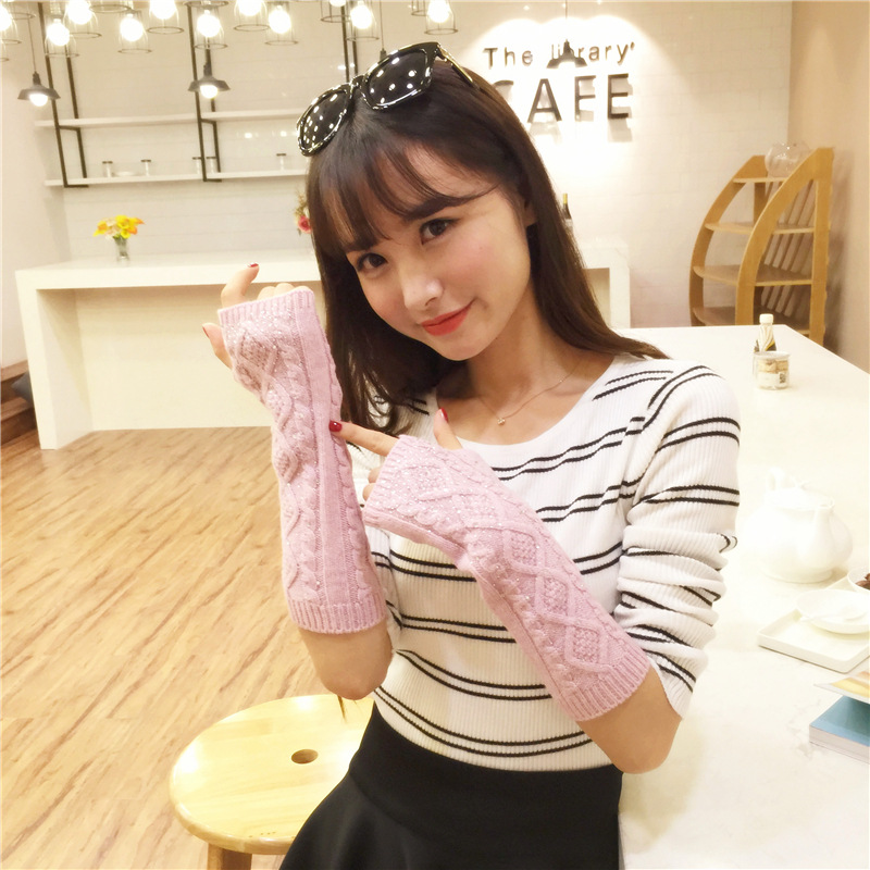 Solid Color Glitter Stones Knitted Women's Gloves Middle Length Wrist Arm Warmer Winter Fingerless Mitten Dropship