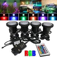 4pcs/set 6W 36 LED RGB Underwater Spot Light with Remote Control Waterproof Garden Fountain Pond Lamp for Tank Aquarium UK Plug