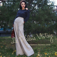 FREE SHIPPING Le palais vintage beige tweed elegant vintage all match high waist trousers/pants