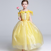 New 2017 Kids Girl Beauty And Beast Cosplay Carnival Costume Kids Belle Princess Dress For Christmas