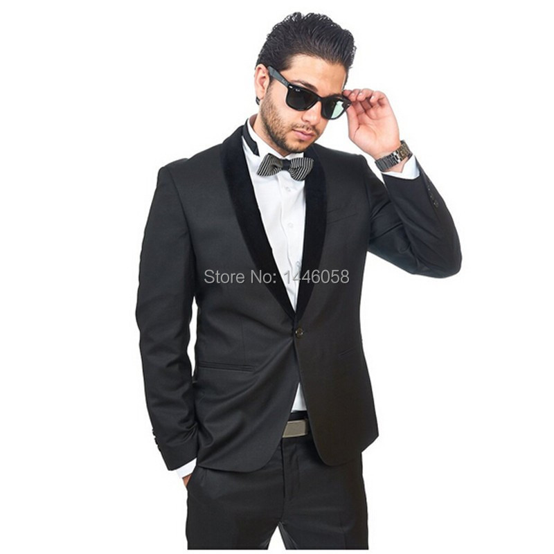 3 Piece Men Wedding Groom Tuxedos Charcoal Grey Best Man Suit Black Lapel Groomsman Men Wedding