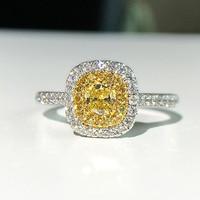 18K 750Au Yellow Gold Moissanite Diamond Ring DF color Lab Diamond Engagement Ring For Women