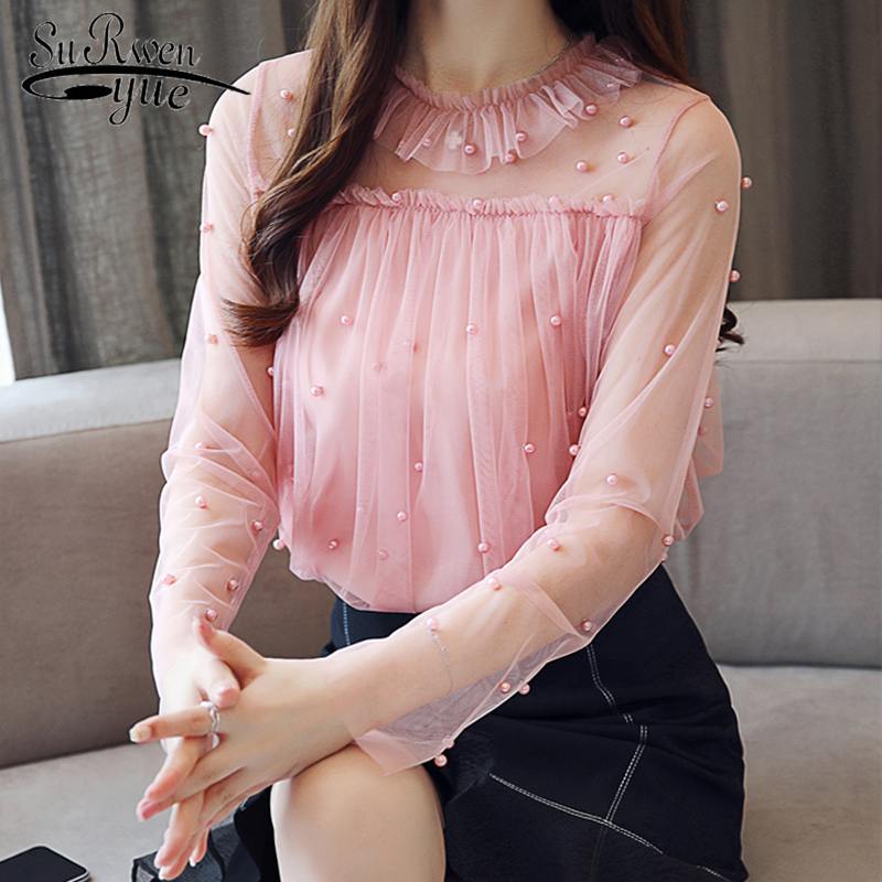 Lace Long Sleeve   Blouse   New 2018 Autumn Women   Blouses     Shirts   Casual Sexy Femme Chiffon Elegant Tops Sweet Female Blusas 0863 30