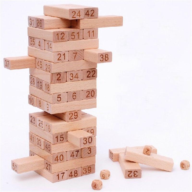 Domino Haya Construcción 51 De Bloques Juguete Madera Torre Piezas 54 VqMzUpS